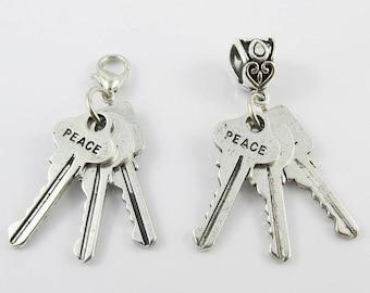 Peace Faith Love Message Keys Charm Select European Charm or Clip on Charm
