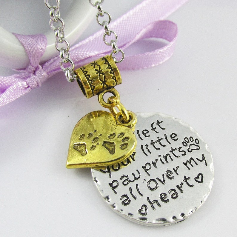 Pet Memory Message Paw Prints all over my Heart Charm Necklace 75cm