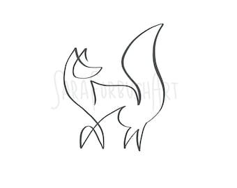 fox line drawing etsy JW Cooper School in 1930 minimalist fox line drawing digital download