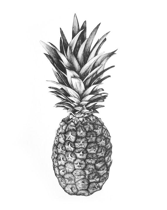 Dessin Imprimé à La Plume Ananas Simple