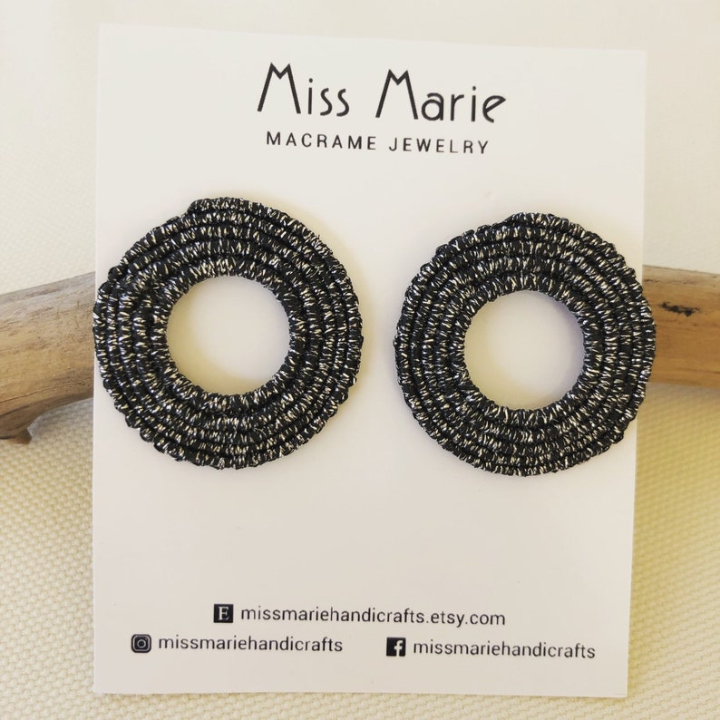 macrame earrings Handmade Circle Macrame earrings modern style missmariehandicrafts waxedthread earrings minimal style knotted