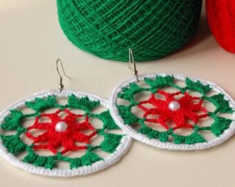 Crochet Earrings Christmas Jewelry Crochet Dangle Earrings Circle Lace Earrings Boho Fashion Earrings Ring Bohemian Earring Hoop Big Earring