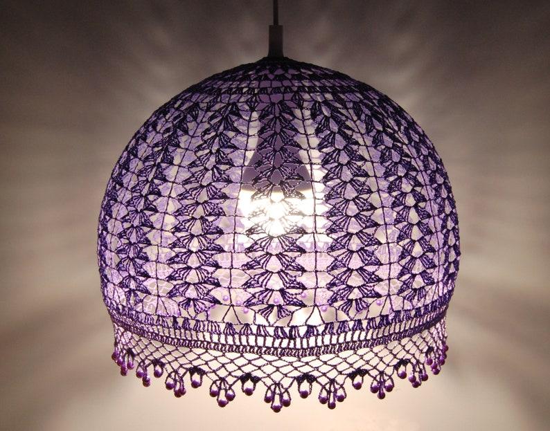 Anhänger Licht hängende Lampe häkeln Kronleuchter Schlafzimmer Beleuchtung  Küche häkeln Lampenschirm Einweihungsparty Geschenk Boho Home Decor ...