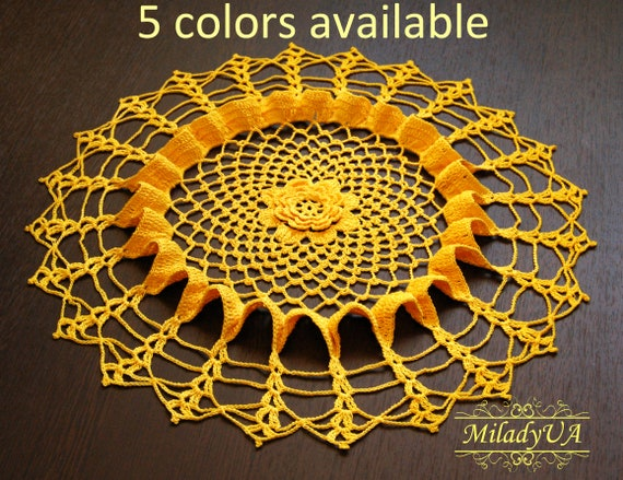 3D crochet doily in Yellow tones Small sun 7 inch Rustic style Decor of a children/'s room or dining room.