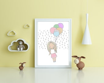 A4 girl with balloons unframed print for nursery. Pastels and muted tones
