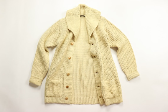 1920s Shawl Collar Sweater 20s Mens Cardigan Thick Knit Wool Vegetable  Ivory Buttons 30s Letterman Collegiate 10s Fisherman 1910s Sportswear