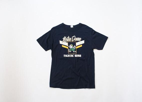 1980s Soft Champion Notre Dame T Shirt 80s Fighting Irish Shirt Vintage Graphic T Shirt Navy Blue Medium Large