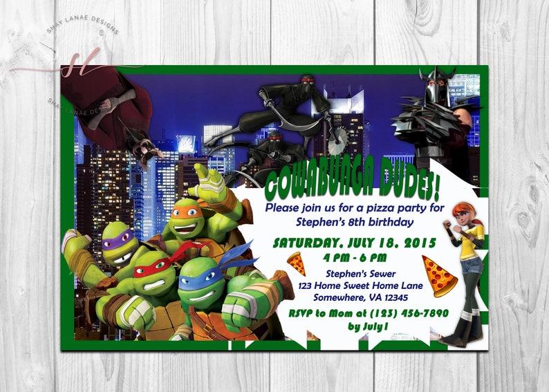 Teenage Mutant Ninja Turtle Invitation TMNT Kids Birthday Party