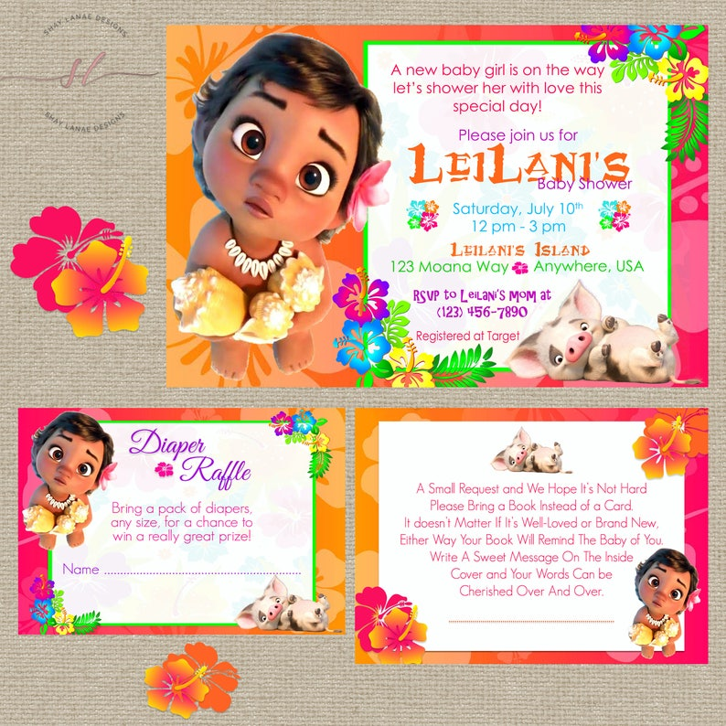 Baby Moana Shower Invitation Packages