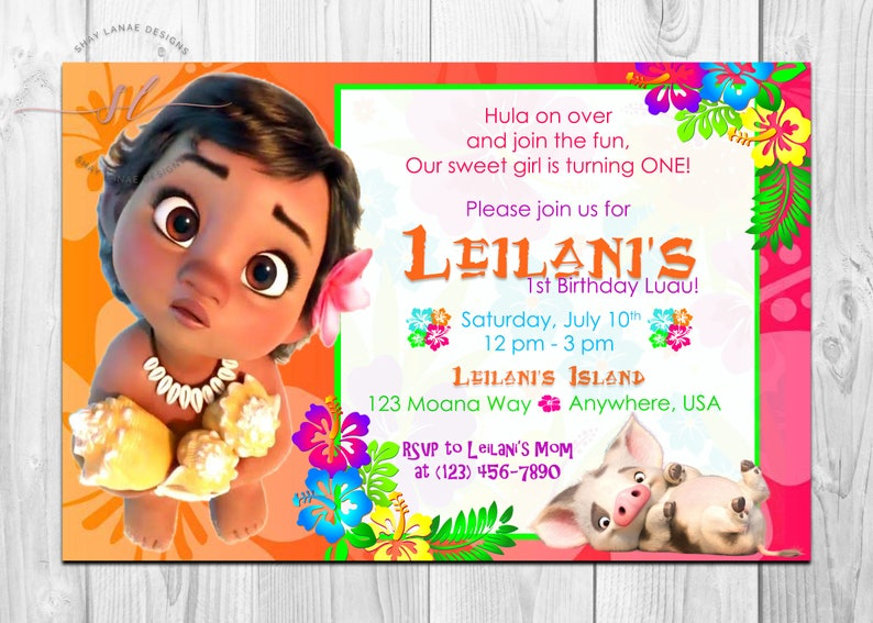 Baby Moana Birthday Invitation Hawaiian