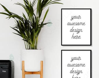 Modern Frame Mockup x2, Vertical Black, 8x10, Styled Interior Photography, Plant Scandinavian Nordic Minimal