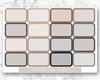 Half Box Multicolor Planner Stickers // Neutral Colors