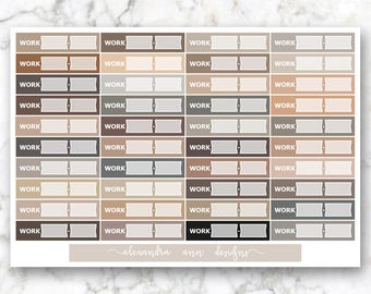 Work Label Multicolor Planner Stickers // Neutral Colors