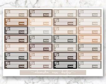 Bill Due Multicolor Planner Stickers // Neutral Colors