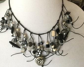Unique wearable art statement necklace.