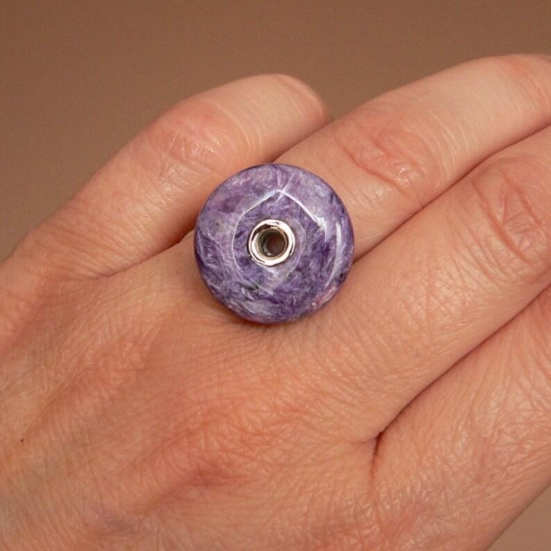 sterling silver donut charoite minimalist ring statement ring charoite ring