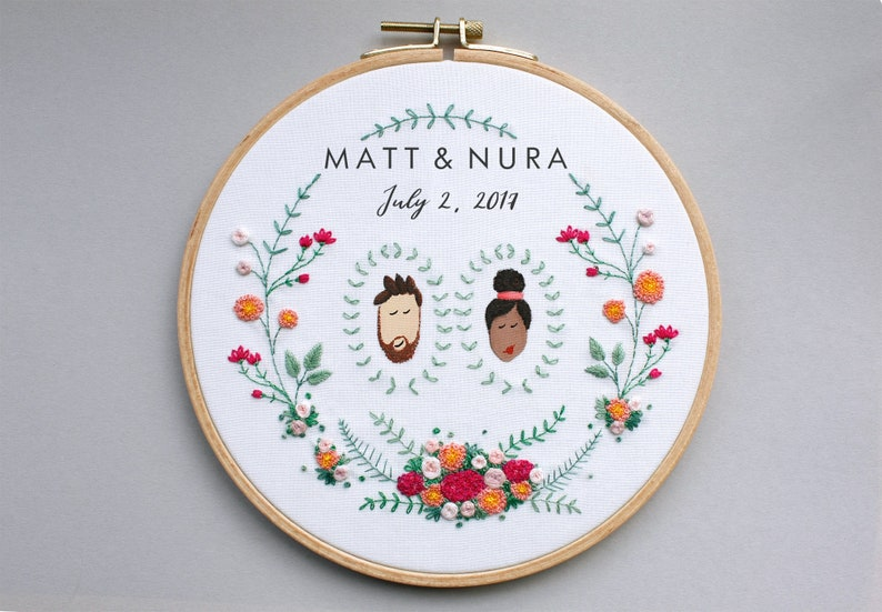 Stickbild  Individuelles Hochzeitsgeschenk Bild 0