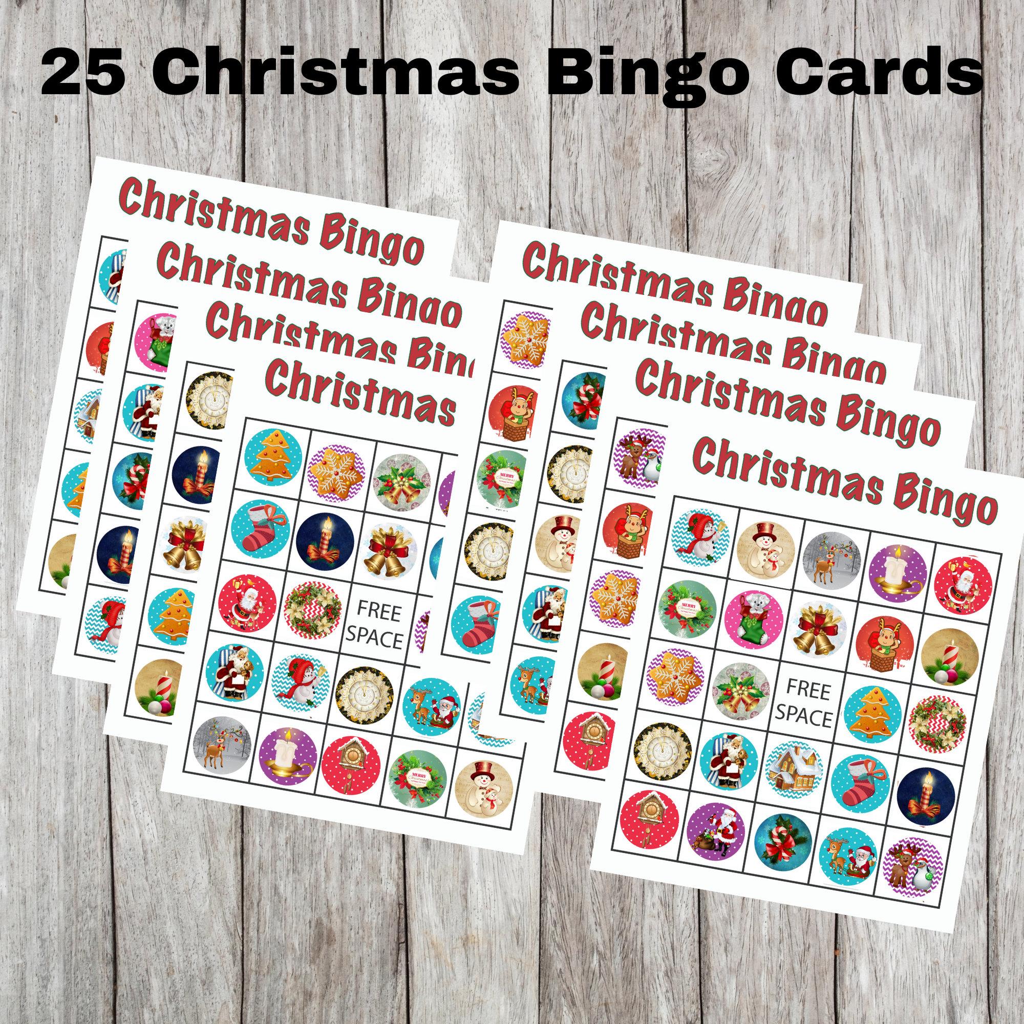 25 Printable Christmas Bingo Cards Christmas Bingo Cards For Kids Easy Bingo Cards Digital Christmas Bingo