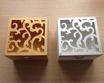 Wooden lattice work handpainted trinket box