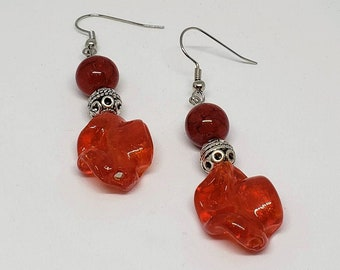 Red Drop Dangle Earrings