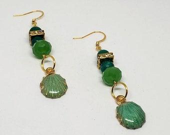 Green Glass and Crystal Seashell Earrings