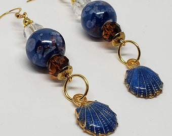 Blue and Brown Gold Toned Seashell Earrings