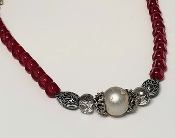 Red Glass  and Metal Bead Bauble Necklace