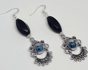 Black and Turquoise Bohemian Metal Dangle Earrings