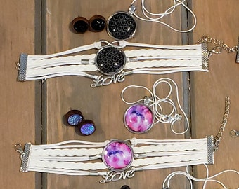 Cabochon Bracelet, Necklace, and Stud Earring Jewelry Sets