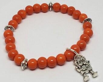 Kids Orange Beaded Robot Charm Bracelet
