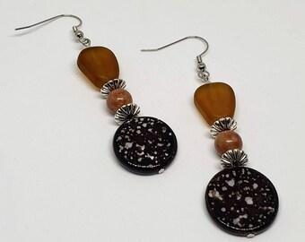 Brown Speckle Earrings