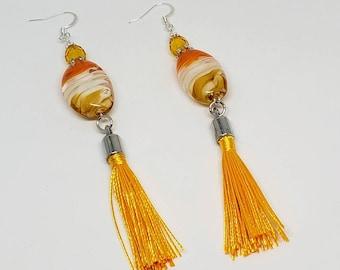 Orange, Yellow, and White, Swirl Earrings