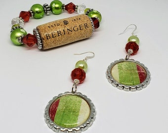 Holiday Drink Bracelet and Earring Set