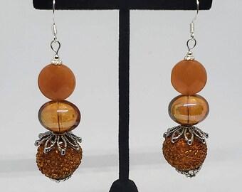 Orange Glass Bauble Earrings