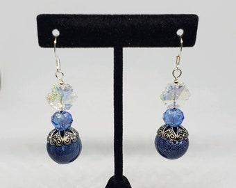 Antique Blue Glass Earrings