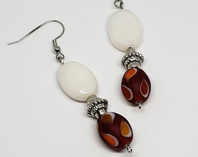 Featured listing image: Orange, Red, and White Tribal Glass Earrings