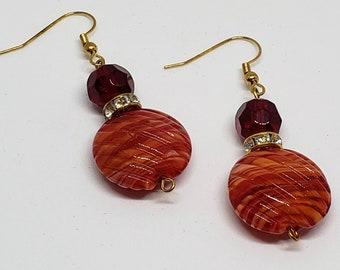Red Perfume Bottle Style Earrings