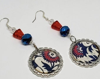 Floral Red, White, and Blue Bottle Cap Earrings