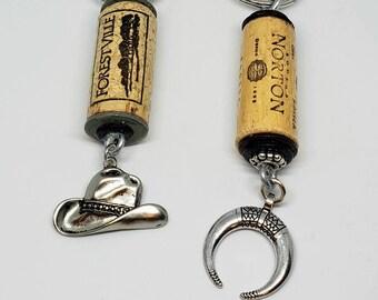 Cowboy Wine Bottle Cork Keychain Set