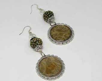 Olive Green and Gold Bottle Cap Earrings