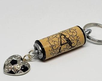 The Soccer Mom Crystal Encrusted Wine Cork Keychain
