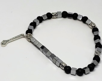 Lava Rock and Silver Beaded Wrench Bracelet