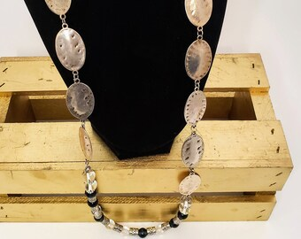 Hammered Metal and Glass Marble Necklace