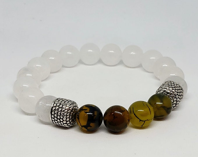 Featured listing image: White Jade and Dragon Agate Bracelet