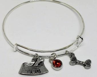 Dog Mom Fur Mom Charm Bangle Bracelet Red Crystal