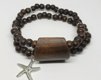 Double Wood Starfish Charm Bracelet