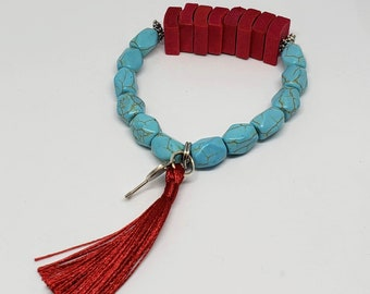 Pink and Turquoise Stone and Wood Bracelet