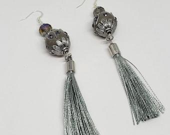 Silver Egg Tassel Earrings