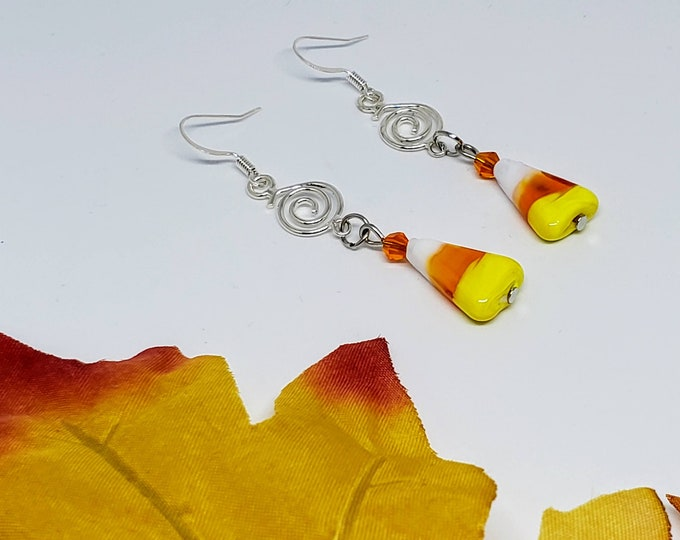 Featured listing image: Candy Corn Swirl Earrings