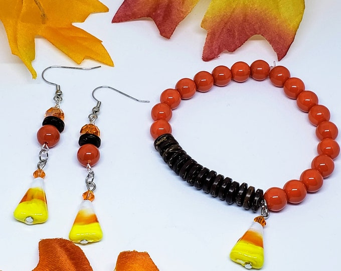 Featured listing image: Orange Candy Corn Earring and Bracelet Set